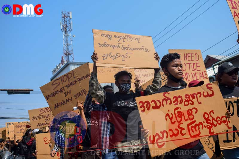 Arakan State activists protest internet ban as petition is ...